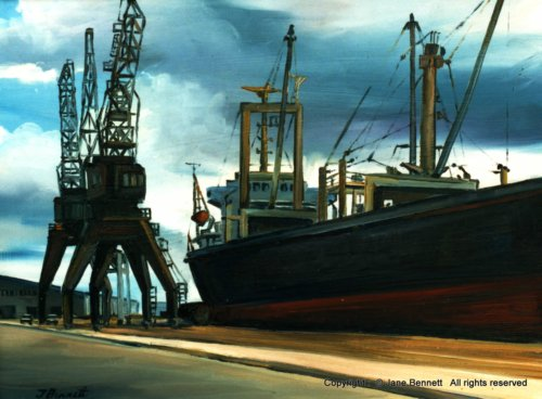 plein air oil painting of Newcastle wharf & shipping by industrial heritage artist Jane Bennett