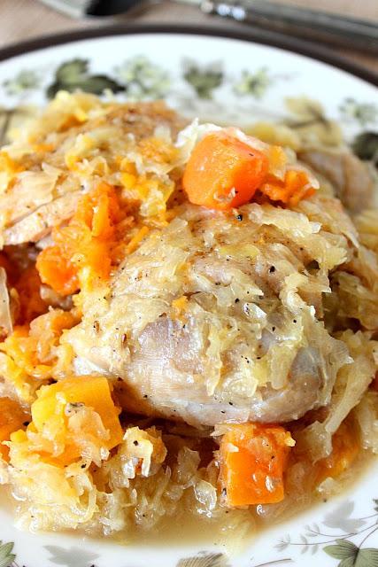 Chicken Thighs with Sauerkraut and Butternut Squash