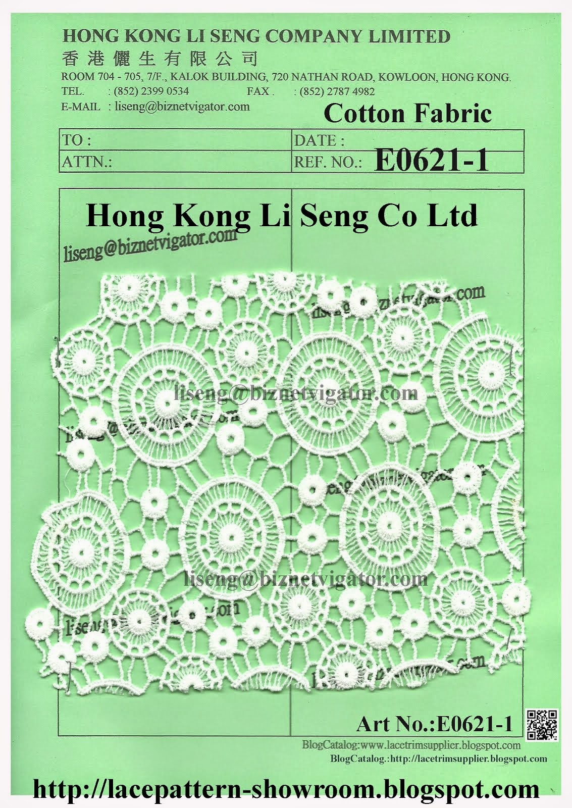 Embroidered Water Soluble Cotton Lace Fabric Manufacturer - Hong Kong Li Seng Co Ltd