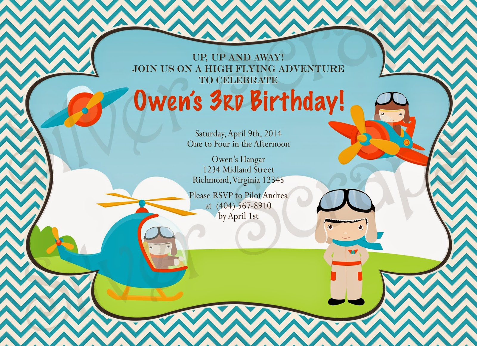 Up, Up, and Away - Custom Digital Airplane Birthday Invitation -Boy Plane Fly Flying Helicopter Pilot Red Blue Yellow - 5 Printable Designs aviator blue chevron red yellow orange helicopter goggles