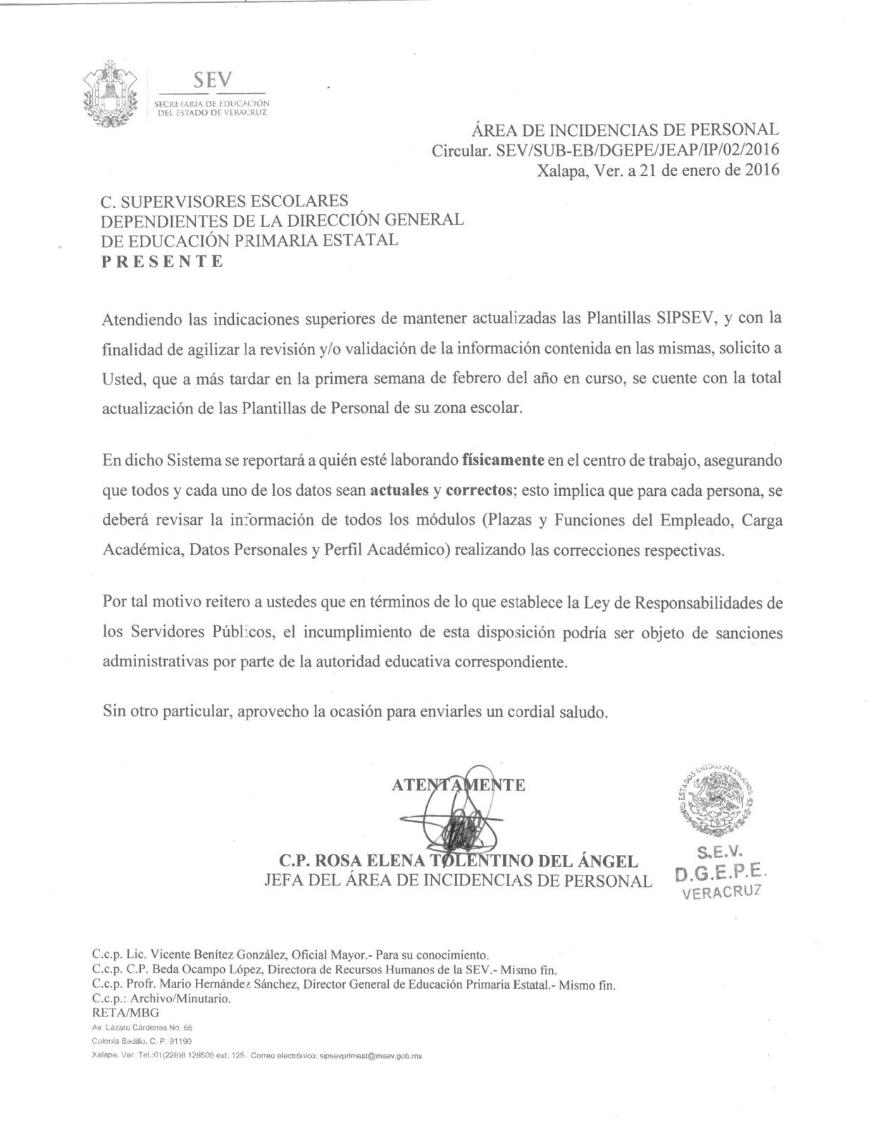 CIRCULAR 02 - PLANTILLA DE PERSONAL   ZONA 65 CÓRDOBA FORÁNEAS