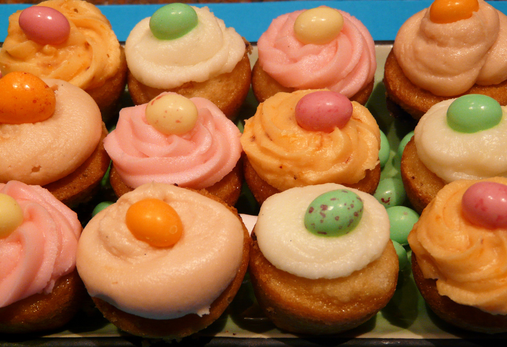 mini cupcakes for easter. An assortment of mini cupcakes