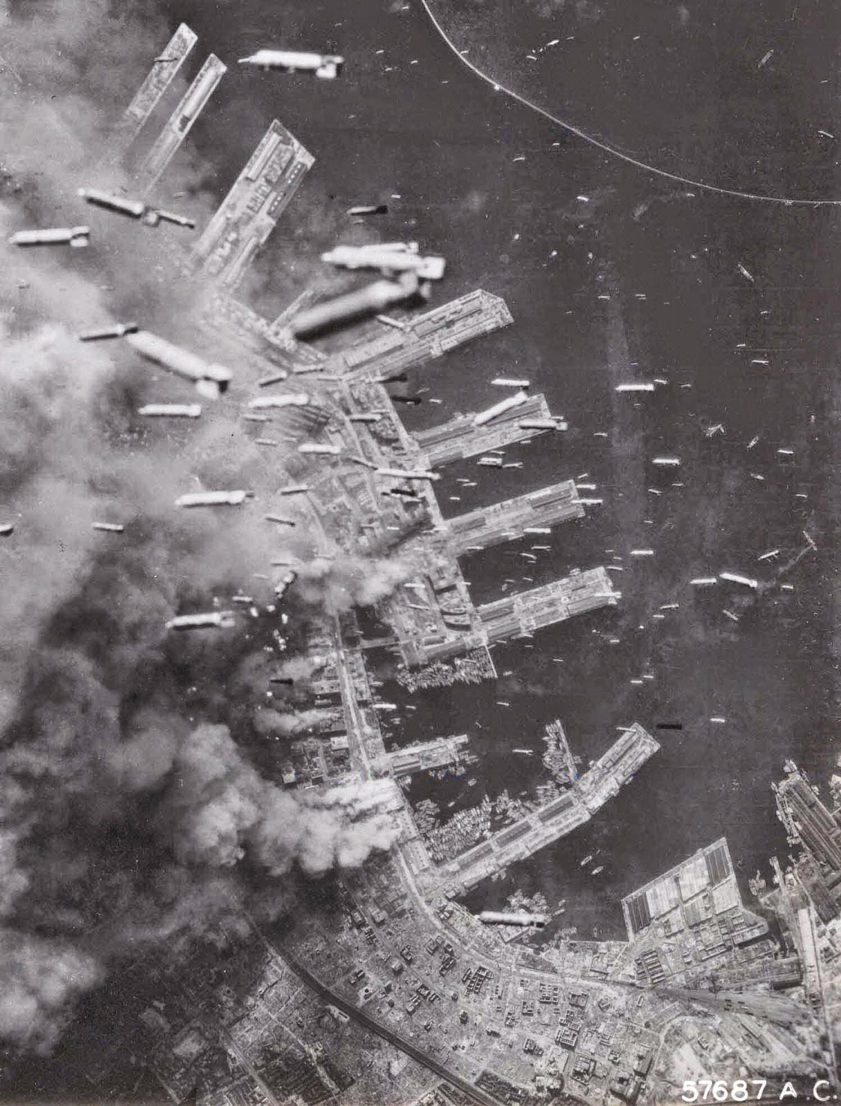 Bombs dropped on Kobe, Japan (1945).