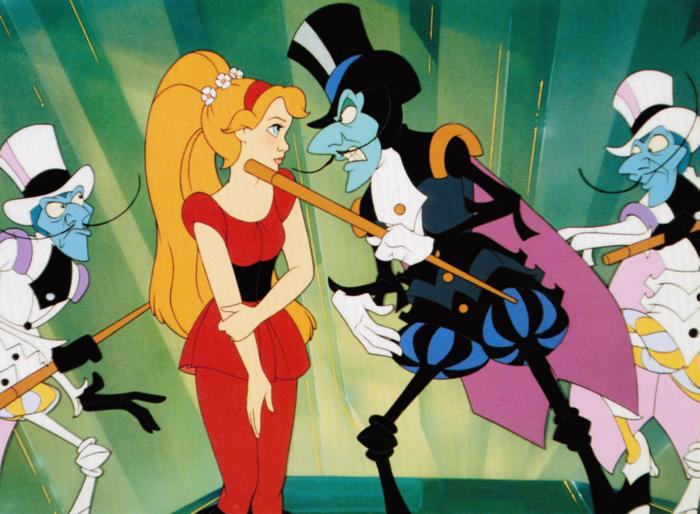 Beetle dancing with Thumbelina Thumbelina 1994 animatedfilmreviews.blogspot.com