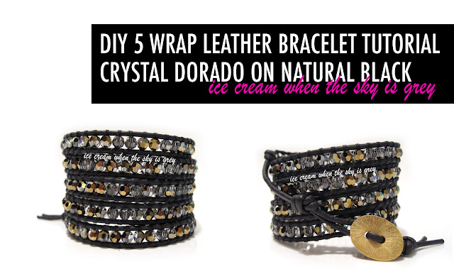DIY Bracelet: 5 Wrap With Crystal Dorado On Natural Black Leather Cord Chan Luu Women's Style