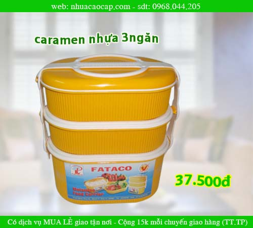 Camen 3 ngăn, Camen nhựa, hộp đựng cơm, hộp nhỏ, nhựa Phát thành