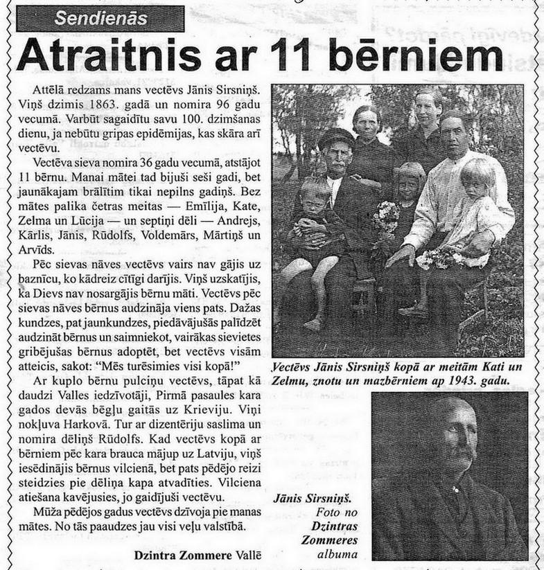 Dzintras Zommeres raksts par savu vectēvu - Atraitnis ar 11 bērniem