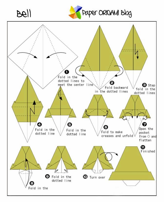 Christmas Origami: Bell | Paper Origami Guide