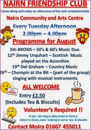 Friendship Club events in August