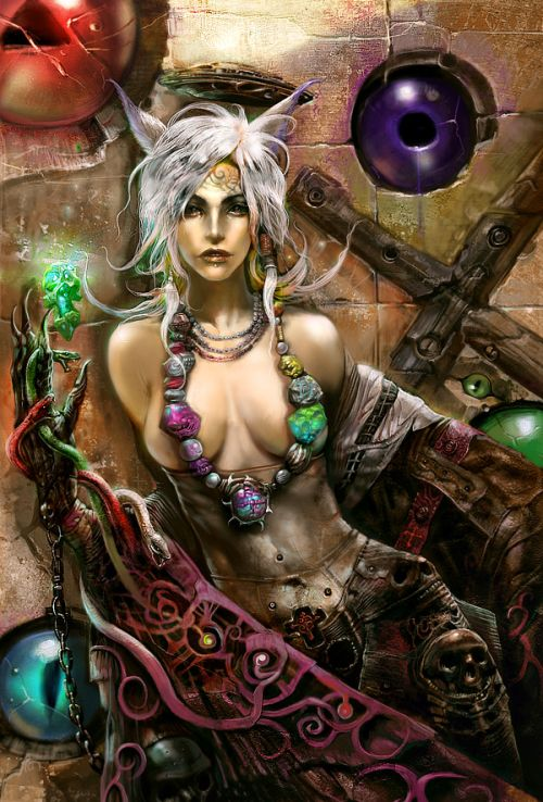 Kuang Hong illustrations fantasy dark grim Fantasy, lust and sensuality