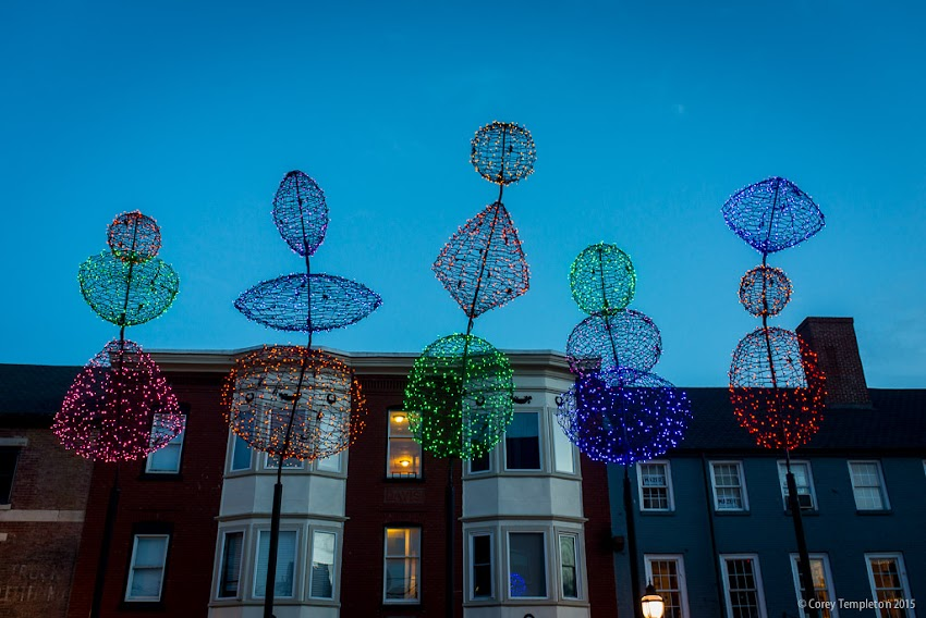 Portland, Maine USA December 2015 photo by Corey Templeton. Pictured today are the light sculptures in Boothby Square by local artist Pandora LaCasse.