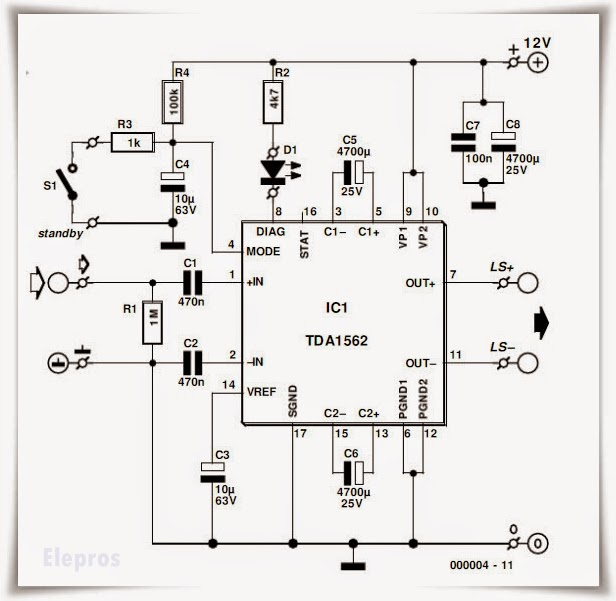 50w audio amplifier using ic tda1562