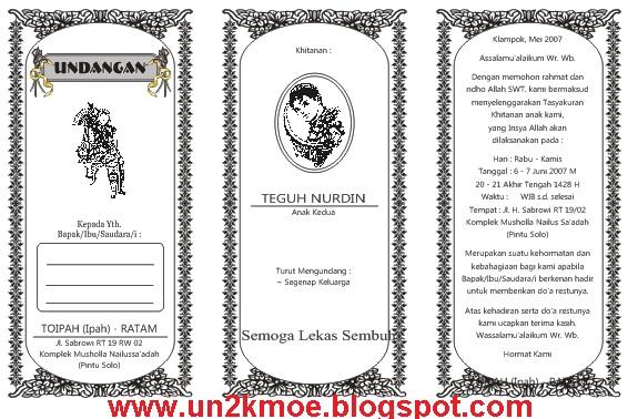 ... Undangan Khitan HVS Bagi 3 CDR Gratis   Download Template Undangan