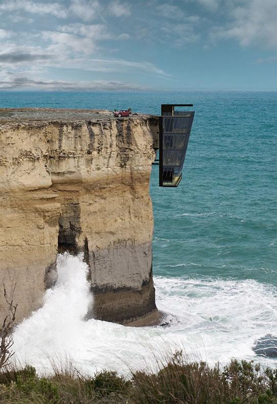 Extraordinaria casa de vacaciones en Australia se aferra al acantilado para salvar su vida