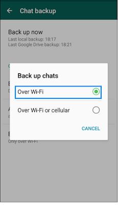 WhatsApp backup via Wi-Fi
