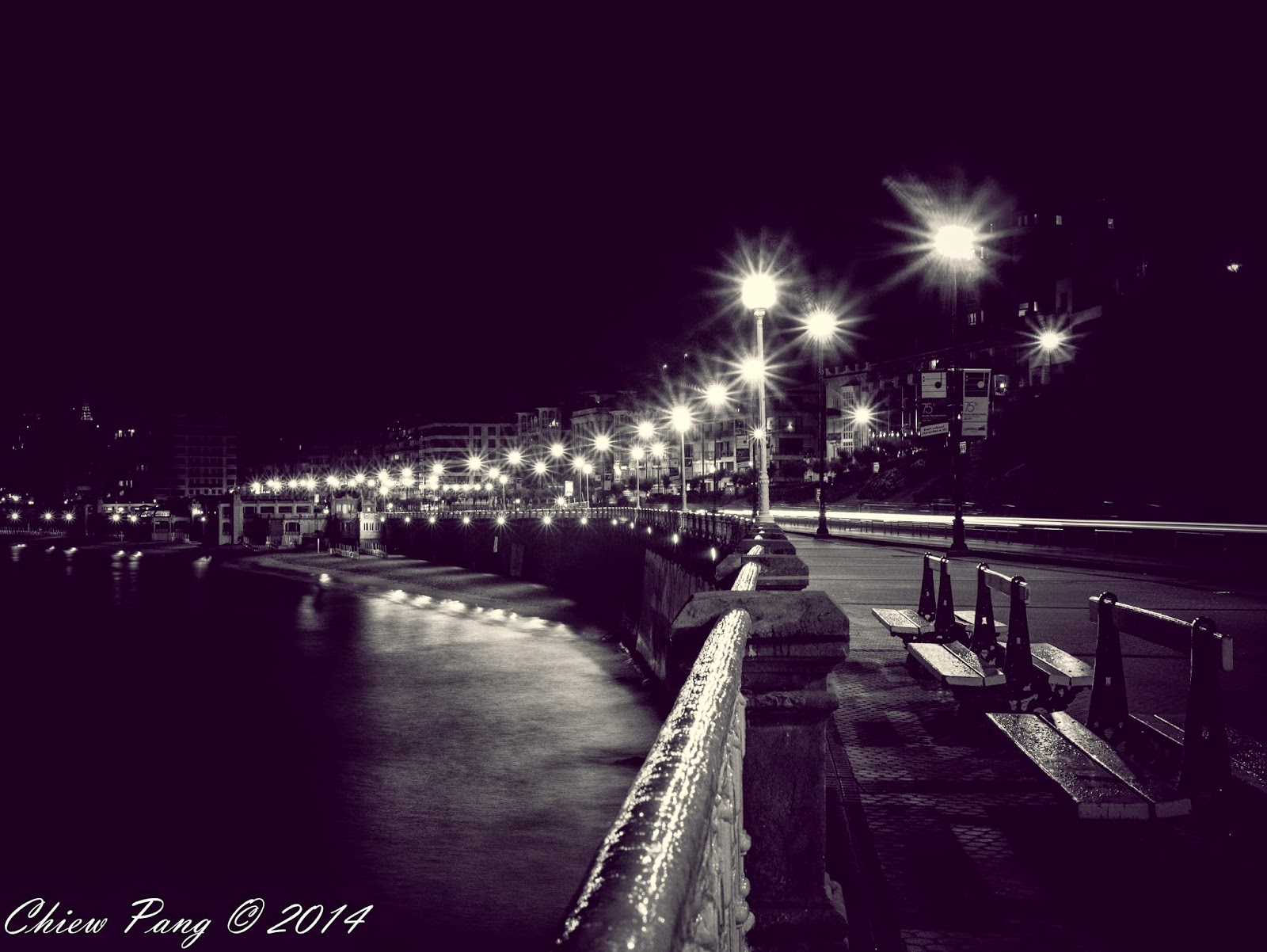 La Concha Promenade in the night, San Sebastian