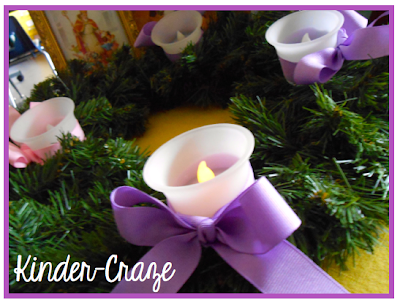 Great idea! Battery-operated candles on a classroom Advent wreath