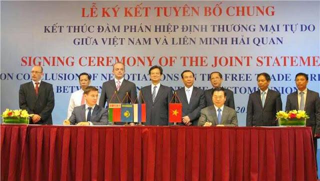 Lễ ký kết đàm phán Khu vực tự do thương mại giữa Việt Nam và Liên minh Hải quan