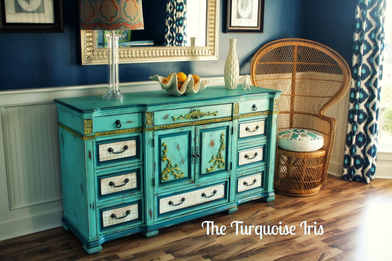 Turquoise Dresser With Houndstooth Drawers
