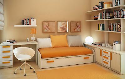 Kamar Tidur Dengan Warna Orange