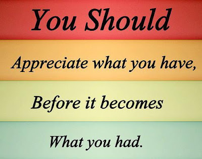 You should appreciate what you have, before it becomes what you had.