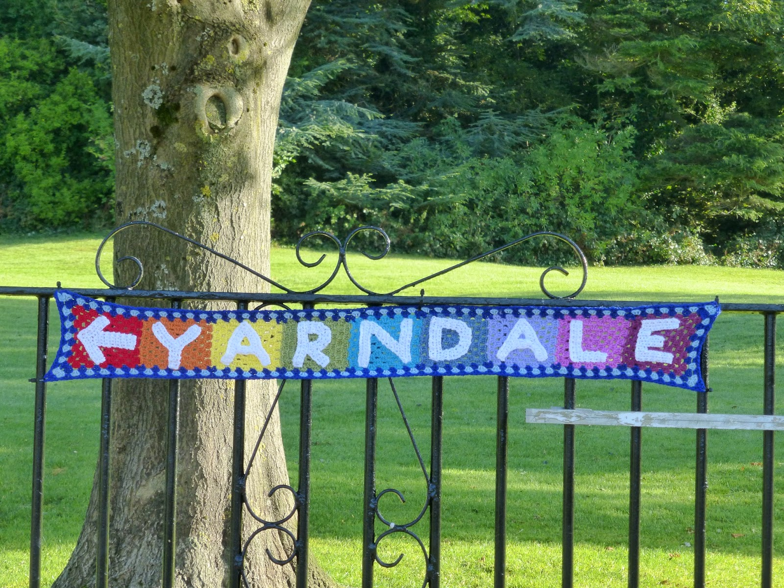 Yarndale yarn bombing crochet letters of word yarndale