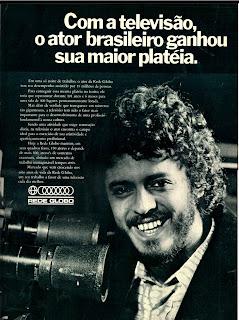 propaganda  rede globo 1973.  1973; os anos 70; propaganda na década de 70; Brazil in the 70s, história anos 70; Oswaldo Hernandez;