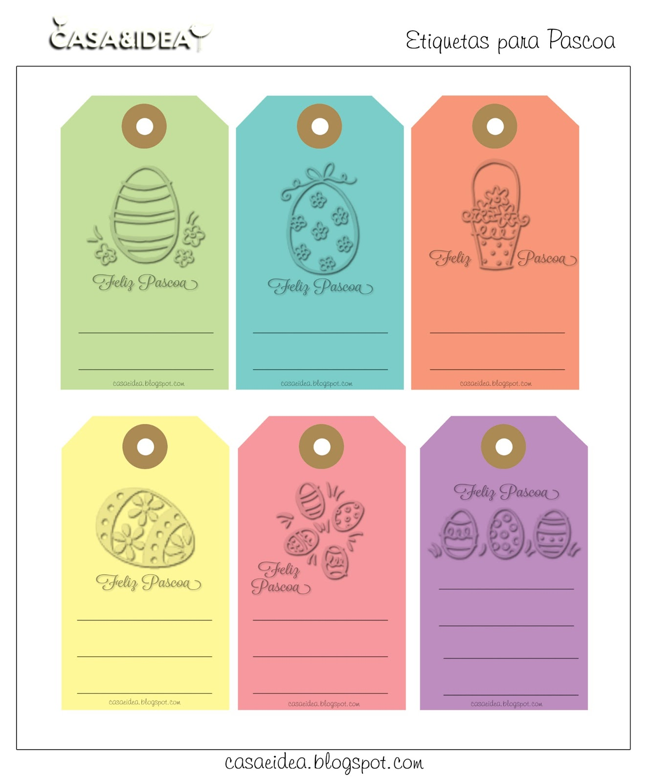 Excepcional CASA&IDEA: Etiquetas / TAG - Feliz Pascoa - Para imprimir! ;) AG35