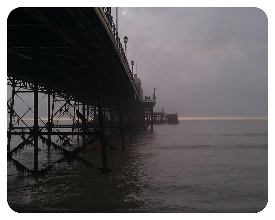 Fog clearing beyond Worthing Pier