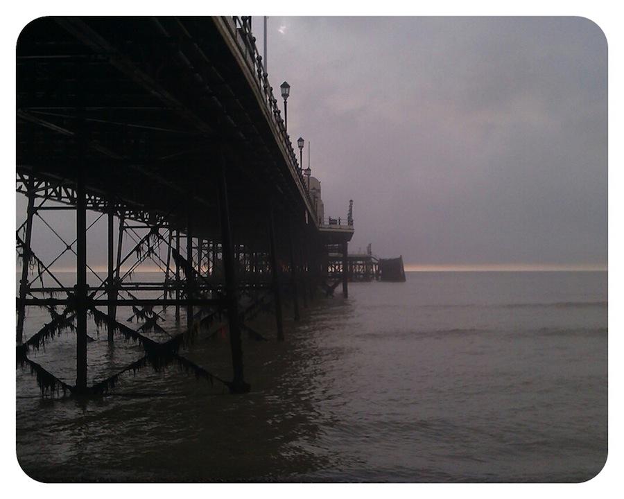 Fog clearing beyond Worthing Pier