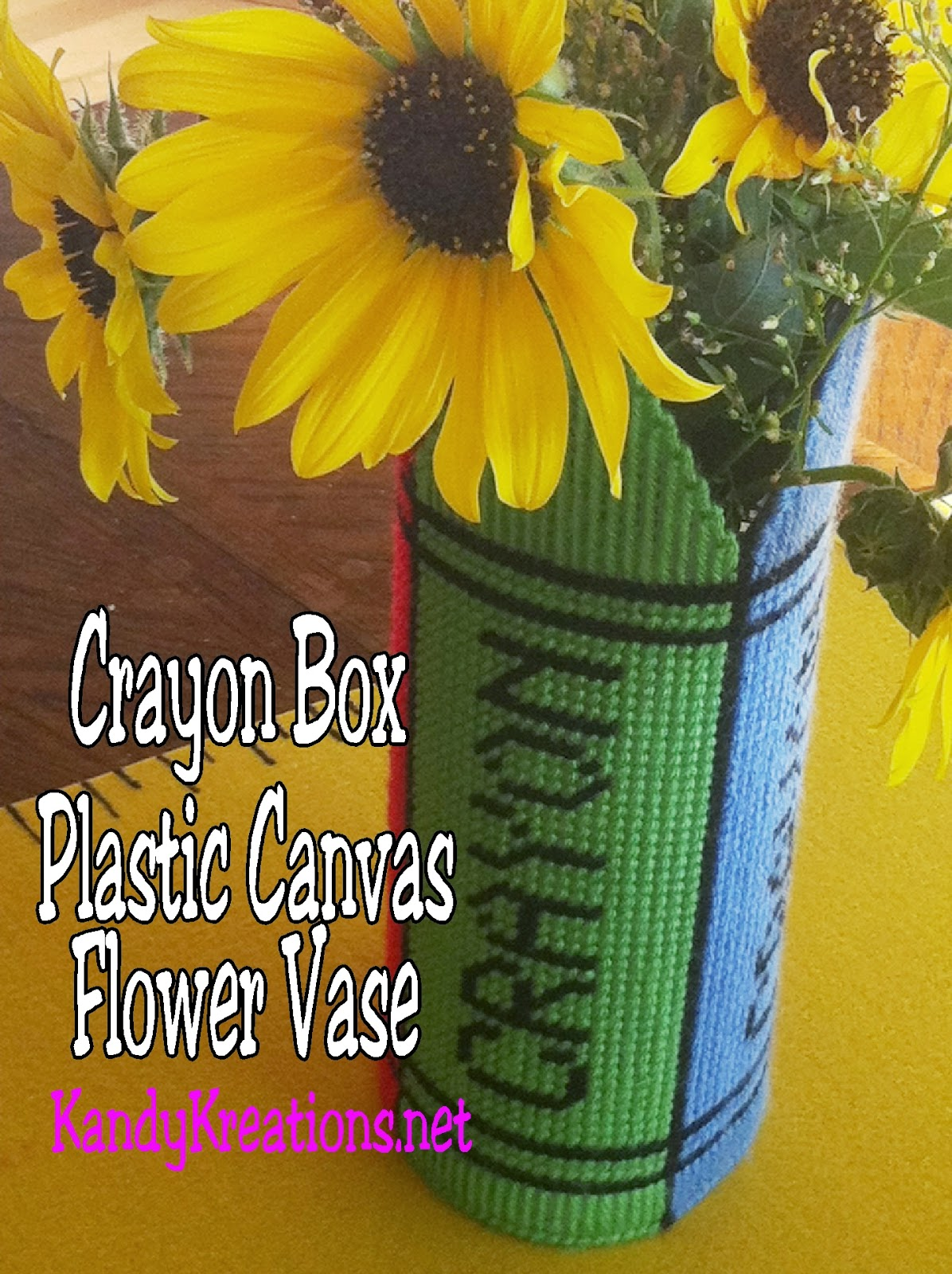Crayon Box Plastic Canvas Flower Vase Pattern by Kandy Kreations
