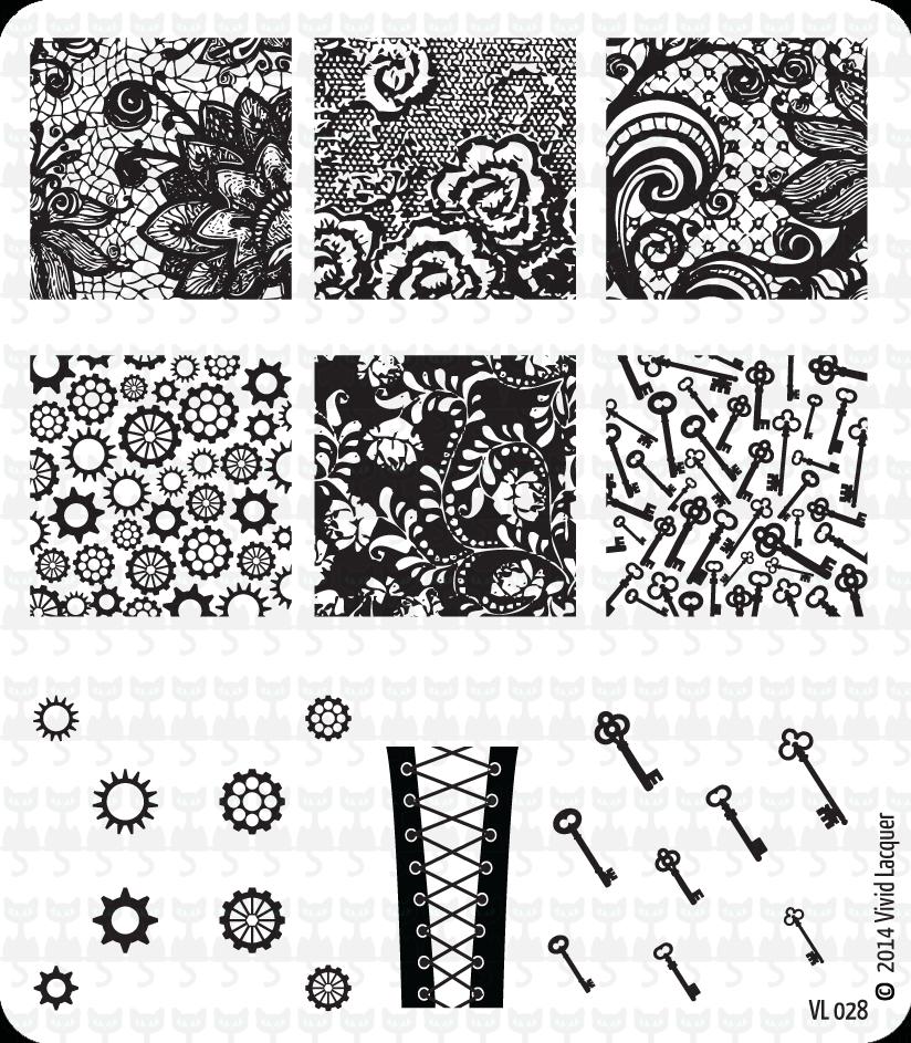 Lacquer Lockdown - Vivid Lacquer, VL024, stamping, nail art, new plates 2014, new nail art plates 2014, new image plates 2014, new stamping plates 2014, VL027, cats, dogs, parrots, rescue animal nail art, diy nails, nail art, cute nails, cute nail art ideas, easy nail art, pueen 2014, lace, corsets, cogwheels, keys