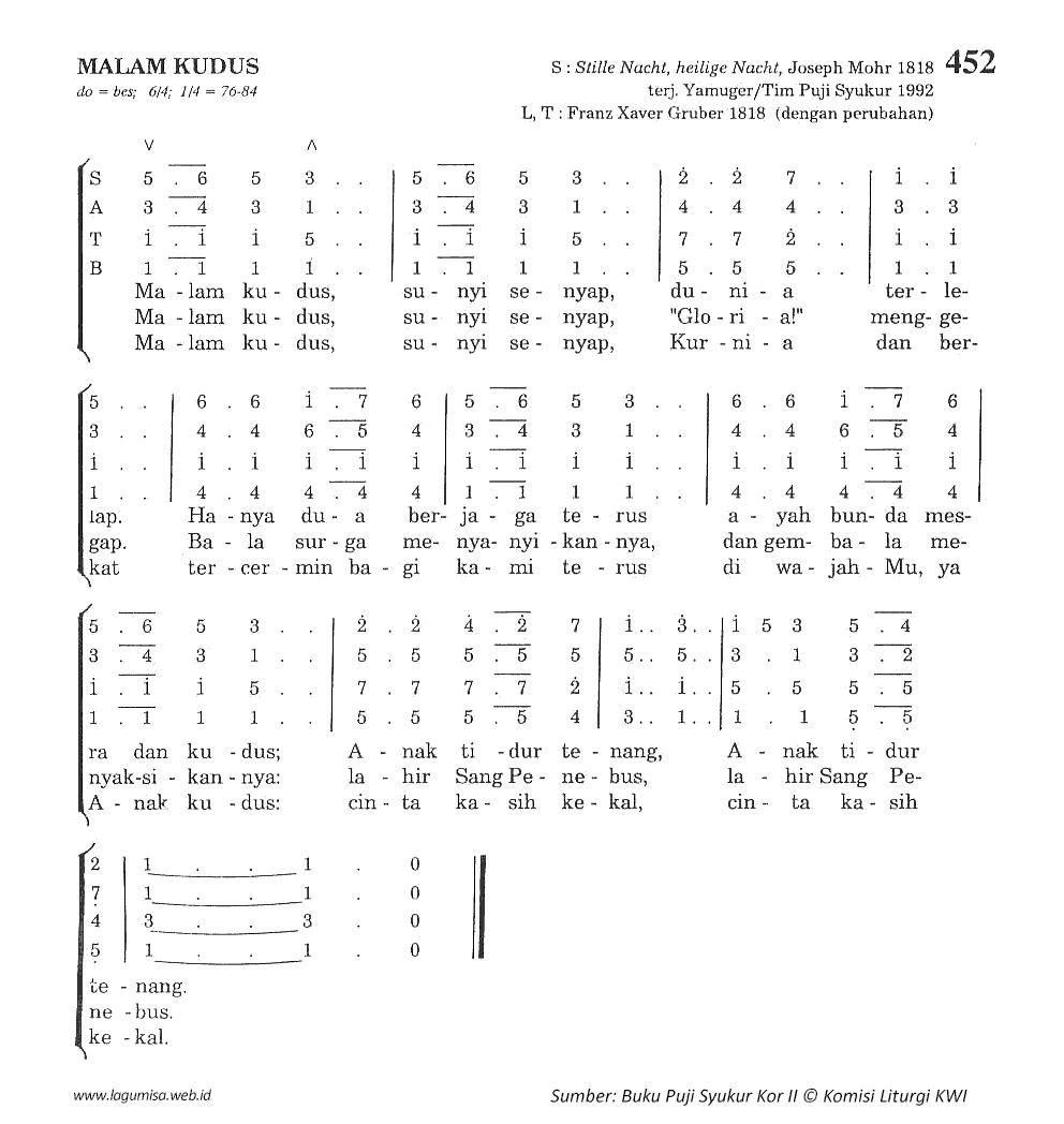 Lirik Dan Chord Lagu Malam Kudus