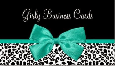 Top ten girly business cards girly business cards fall fashion leopard print emerald green ribbon business card reheart Gallery