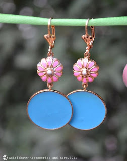 Aditi bhatt accessories, earrings, pink & blue earrings, enamel jewelry