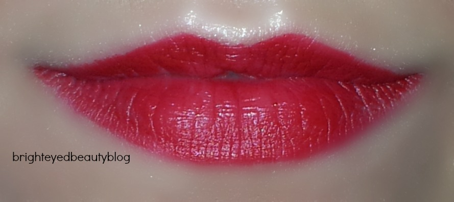 Swatch of M.A.C Russian Red Lipstick- indoor lighting, lighter application