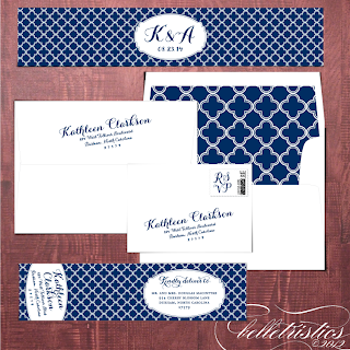 printable envelope liner address label quatrefoil pattern