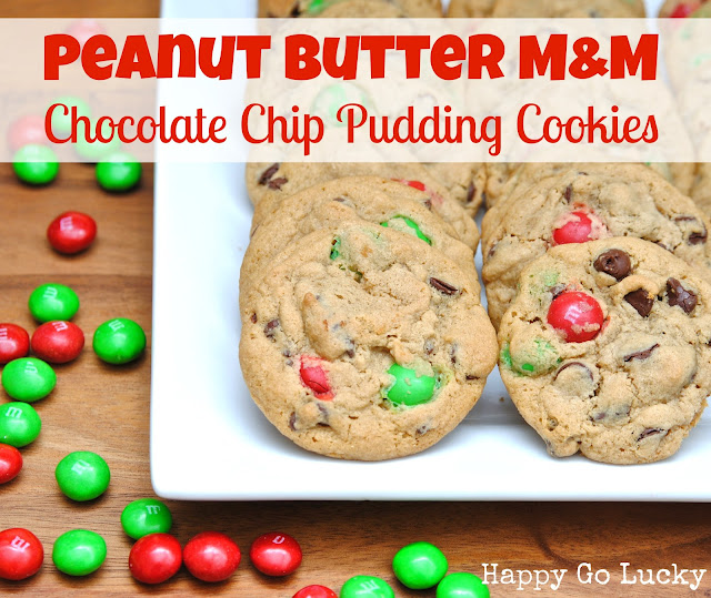 Peanut Butter M&amp;M Chocolate Chip Pudding Cookies