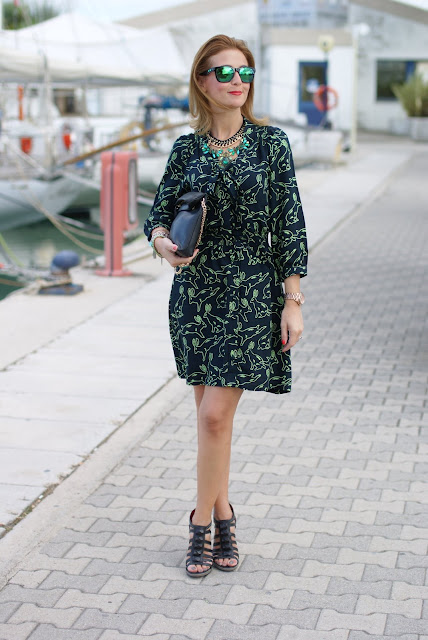 Surfdome, rabbit printed dress, Cesare Paciotti shoes, Fashion and Cookies, fashion blogger
