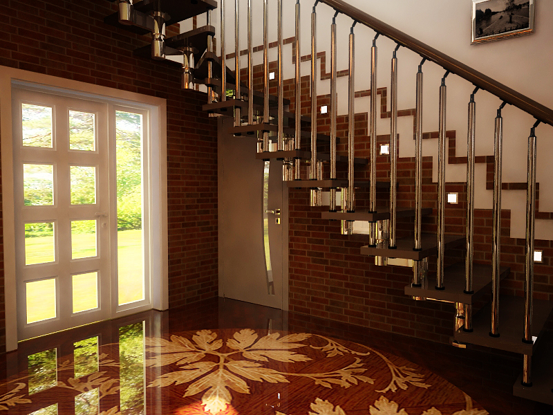 Интерьер коридора с лестницей фото