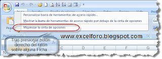 Mostrar / Ocultar la cinta de opciones en Excel 2007