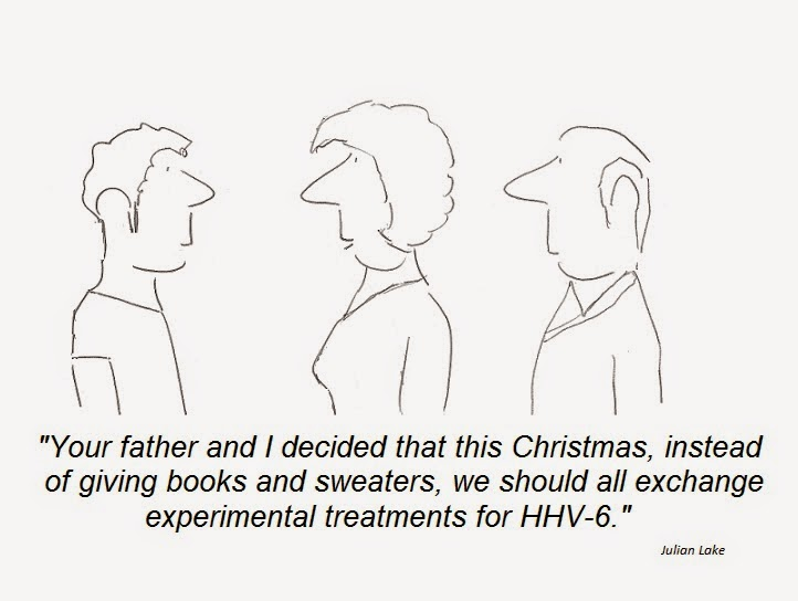 cartoon, hhv-6 christmas, treatment, cfs, chronic fatigue syndrome