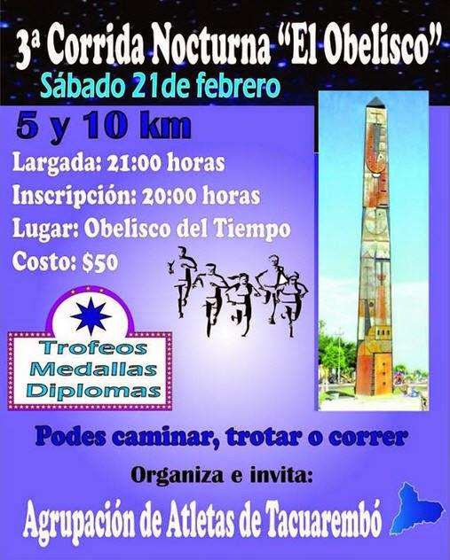 10k y 5k Corrida nocturna El Obelisco del tiempo (Tacuarembó, 21/feb/2015)