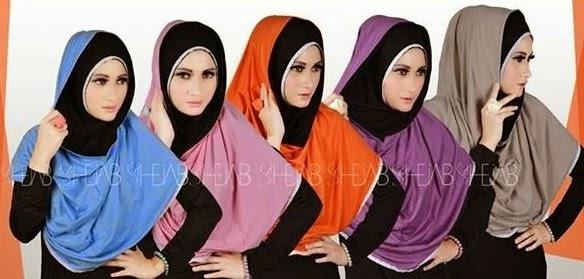jilbab hoodie dua warna manis