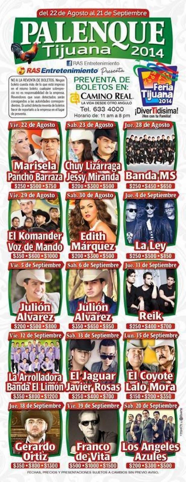 Artistas Palenque Feria Tijuana 2014