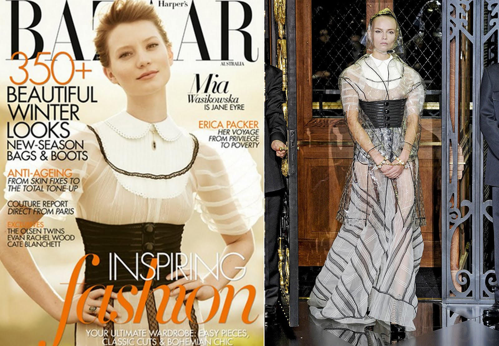 8c941e14d56f The actress wears Louis Vuitton for the vintage-styled cover. She poses in a  sheer black and white dress with high collar