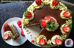 TORT BLONDYNKI URODZINOWY, czyli czekoladowy i Matcha z Kremem Limonkowym i Ganache Czekoladowym