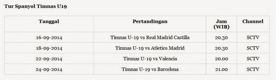 Jadwal Pertandingan U19 Indonesia Tur Spanyol