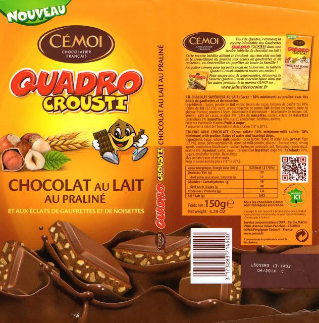 tablette de chocolat lait gourmand cémoi quadro crousti lait praliné aux eclats de gaufrettes et de noisettes