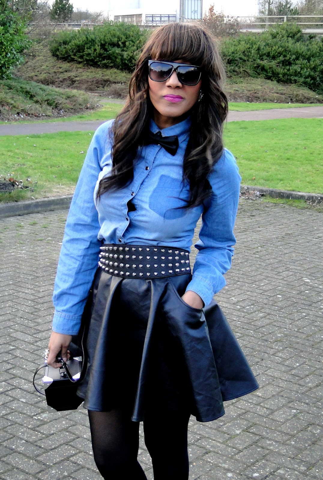 denim and leather skater skirt 2nu kollexion fashion